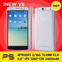 """5.5"""" Original INEW V8 2G RAM16G ROM IPS 1280*720 13.0MP Rotatable CAM Android 4.4 MTK6591 Hexa Core 2400mAh NFC OTG WCMA Phone"""