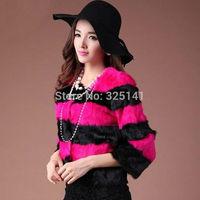 2014 New Fashion real rabbit fur Lady Short Warm Coat Jacket autumn winter Fluffy Outwear women's slim fur coat Stripe Design