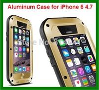 Free Original Love Mei Shock proof Dirt proof Waterproof Metal Aluminum Case for iPhone 6 4.7 + Gorilla Tempered Glass