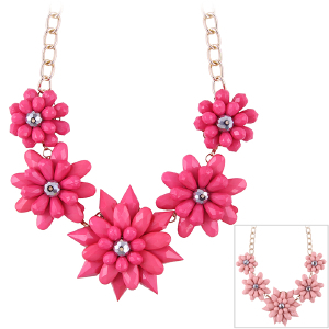 Hot Sale 2014 New Fashion Resin Crystal Gold Plated 5 Flower Pendant Necklace For Women # FL-N1753 N1754(China (Mainland))