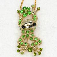 Wholesale 12piece/lot Peridot Crystal Rhinestone Frog Pendant Necklaces Fashion Apparel Chain Jewelry F386 K2