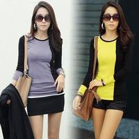 2026 free shipping 2014 women new fashion color block o neck long sleeve plus velvet slim t shirts ladies girl warm dress tops