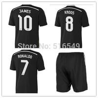 2015 top quality black soccer jerseys kit, JAMES 10 KROOS#8  BALE#11 soccer uniform kits football shirt &shorts free shipping