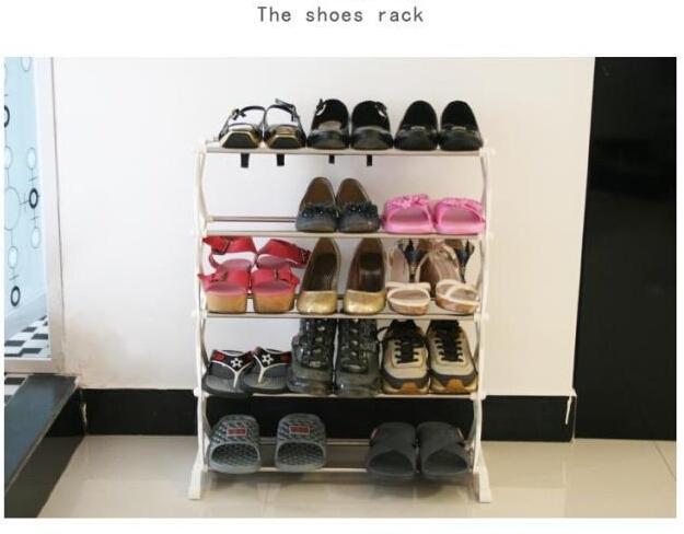 15 Pairs 5 Tier Level Stackable Space Saving Shoes Rack Organizer Storage Shelf(China (Mainland))
