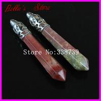 10PCS Natural India Agate Gems Long Point Pendulum Pendant with Silver Cap,Hexagon Healing Crystal Quartz Wand Pendant