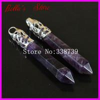 10PCS Natural Amethyst Gems Long Point Pendulum Pendant with Silver Cap,Gorgeous Hexagon Healing Crystal Quartz Wand Pendant