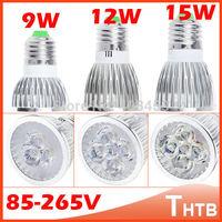 Free shipping High power CREE GU10 E27 GU5.3 E14 MR16 9W 12W 15W 85-265V Dimmable LED Light lamp LED Downlight Led Bulb