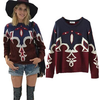New Show style Women's Ethnic Indian Vintage Floral Pattern Crew Neck Long Sleeve Knitted Pullover Sweater Knitwear Tops