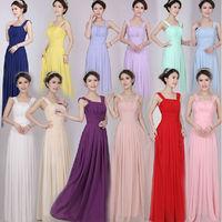 12 Colors Choices,2014 autumn new arrival long design slim tank shoulder empire pleat chiffon party evening dresses,good quality