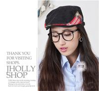 Korean Plaid hit color cap  Autumn and winter days warm parent-child fashion lovers cap