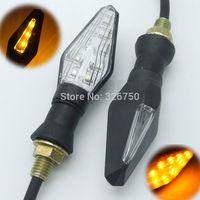 2x Universal Motorcycle 13 LED Turn Signal Indicators Blinker Amber Light Black