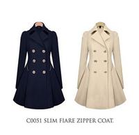 2014 New Fashion Autumn and Winter Women Trench women slim winter warm long wool coat outwear with belt