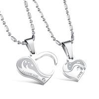 Fashion Accessories Jewelry Gift Titanium Love Heart Puzzle Pendant CZ Diamond Lovers Couple Pendant Necklace for Men Women