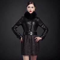 Removable Natural Fox Fur Collar Women Genuine Leather Jacket Spliced Cashmere Dress Slim Female Elegant Coat Waist Belt Autumn