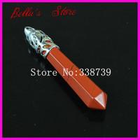 10PCS Natural Red Jasper Gems Stone Wand Pendulum Pendant prism Divination Point Healing Chakra Reiki Pendant Pendulum 60mmX10mm