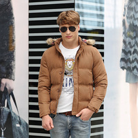 2014 mens winter jacket men's hooded wadded coat winter thickening outerwear male slim casual down jacket  8222