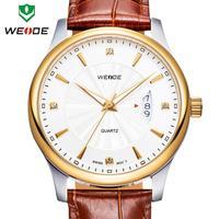 WEIDE watch quartz woman genuine leather straps calendar rose gold watches 30m waterproof Japan movement wristwatch dropship