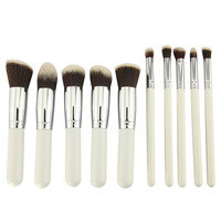 10pcs/pack beautiful professional cosmetic makeup brushes set kits for women girl lady white silver colour CZ005