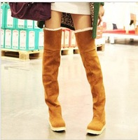 Solid color winter waterproof snow boots gaotong cow muscle over-the-knee 25pt elastic platform boots