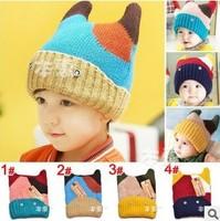 Free Shipping Baby Winter Hat Girls/Boys Knitted Hats Crochet Beanies Wool Knitting Skullies & Beanies Retail #971