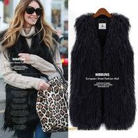 women's Faux fur coat vest grass fake Mongolia Sheep fur wool vest fashion waistcoat long fur vest black fur jacket