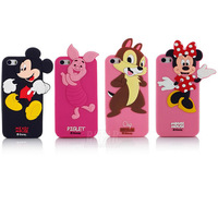 fashion Cute 3D Cartoon Micky Minnie Mouse Piglet Clip characters back Cover Soft Case For iphone 5 5S PT1307