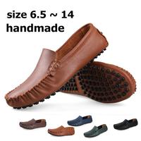 size 6~14 Genuine leather handmade men flats,2014 men summer original HECRAFTED brand shoes,man Loafers Moccasins for men