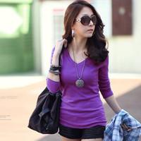 2028 free shipping 2014 women new fashion 12colors v neck long sleeve slim t shirts ladies girls winter plus velvet dress tops