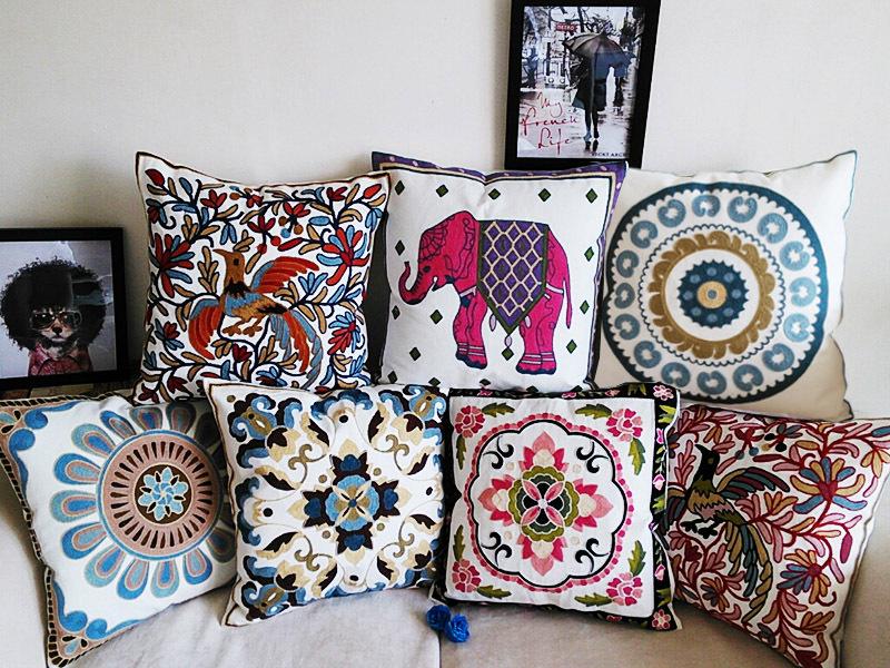 Bordado capa de almofada 100% algodão de alta qualidade caso tecido travesseiro bordados estilo Bohemian floral elephant almofadas 45 x 45 cm(China (Mainland))