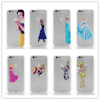 Wholesale Price The Princess Print Grind arenaceous Transparent Plastic Phone Case Cover For iPhone 6 6G