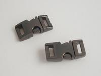 """(50pcs, Gun Black) 3/8"""" or 10mm Webbing Contoured 100% Metal Curved Side Release Buckles for 550 Paracord Bracelets Bag Parts"""