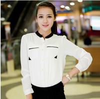 S-L New Fashion  Women  color block chiffon blouse femininas  long sleeve stand neck  shirt  YF002