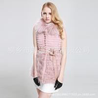 2014 new wholesale rabbit fur stitching raccoon fur vest and long sections warm fur luxury natural rabbit fur vest fur outwear