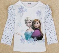 Free Shipping 2014 New Arrival Girls Frozen T-shirt Tees Kids Elsa's t-shirts Baby frozen Printed tshirt NOVA Cartoon Clothing