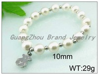 Discount Sale Stretchy Lady's Jewelry 316L Stainless Steel Silver Lovely Bear And White Pearls Bangles Bracelets For Women&Girl
