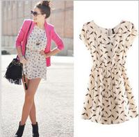 S-3XL Plus size bird Print Women Fashion dress  casual dresses for woman  clothing YF003