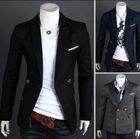 2014 New mens blazers Gentleman suit to the double breasted suit Korean men's casual suit jacket Sizes M-XXL XF06 Free shipping