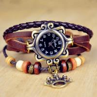 8 colors Popular Waches Women/girl  Leather wrist watch Imperial crown pendant fashion vintage quartz watch