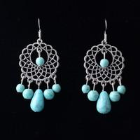 Unique Retro Vintage Pattern Design Tibetan Silver Drop Turquoise Earrings Dangle Earring For Woman