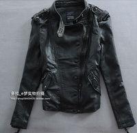 Luxury Girl's Women 100% Sheep Skin Leather Jacket Coat Slim Collar Zipper Korean Fashion Euro Red Black Motor Free Shipping