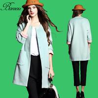 Wollen Coat  Fashion Women Slim Fit Collarless Wool Coat Single Breasted Trench Long Jacket Outwear Overcoat Windbreaker