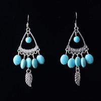 Unique Retro Vintage Pattern Design Drop Dangle Earring Tibetan Silver Leaves Turquoise Earrings For Woman