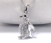 12pieces/lot popular alloy animal pendant necklace 3.5cm platinum penguin pendant women necklace free shipping xy139