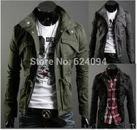 2014 Men's Fashion Brand Clothing ,Army Design Casual Men's Zipper Jackets,Autumn Quality Men's Slim Fit Coats JK05