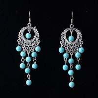 New Retro Silver Color Drop Dangle Earrings,Bohemian Style Charm  Vintage Turquoise Earrings For Women Long Earrings