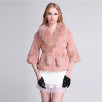 2014 new woman slim Complete rabbit fur Fox collar O-neck fashion  coat Noble gift