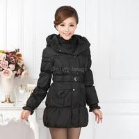 XXXXL Woman Coat Winter 2014 Plus Size Ladies Hooded Long Cotton Black Jacket Abrigo de Invierno