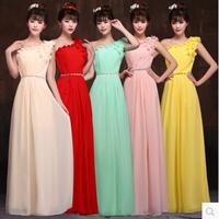 Hot 2014 new fashion popular wedding dress,long design elegant one-shoulder 3D flower back zipper chiffon embroidery bride dress
