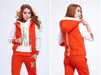 Drop shipping 3 pcs/set thicken warm hoodies sweatshirt women sport suits outerwear for winter High quality M-XXXL