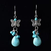Fashion Retro Butterfly Drop Dangle Earrings,Bohemian Style Charm Vintage Turquoise Earrings For Women Long Earrings